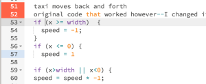 original code for moving taxi back and forth